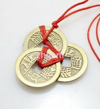 Chinese FengShui Lucky Coin 3 Fortune Brass Emperor Coins 12 Inches