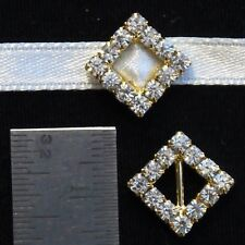 100 Gold Square Diagonal Diamante Strass Buckle Ribbon Sliders Mariage Carte