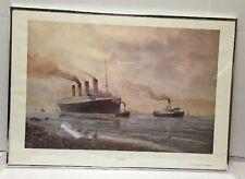 Vtg Titanic Leaving Belfast For Sea Trials 1912 Print Frame E.D. Walker Poster
