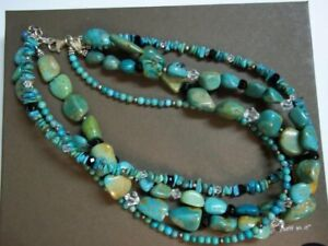 Silpada 4 Strand Turquoise Obsidian Necklace Sterling Silver Clasp Retired N1299