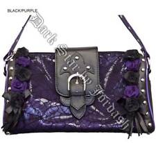 Dark Star Black and Purple Gothic Cobweb and Roses PVC Purse.