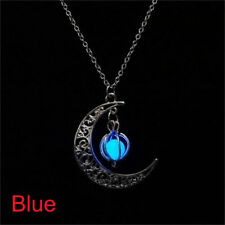 Women Fairy Luminous Locket Glow In The Dark Crescent Heart Pendant Necklace