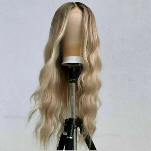 Luxury Lace Front Remy Light Blonde Ash Blonde Wavy Full Lace Human Hair Wig