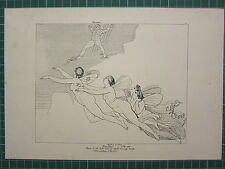 1880 PRINT JOHN FLAXMAN AESCHYLUS MYTHOLOGY ~ PROMETHEUS CHAINED NYMPHS OF OCEAN