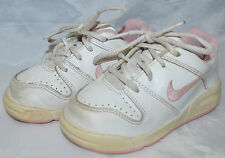 Nike Girls Athletic Shoes White Pink Size 7.5C 7UK 24EUR Non-Marking Sole GUC