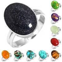 925 Sterling Silver Gemstone Ring Women Jewelry Size 5 6 7 8 9 10 11 12 13 sy563