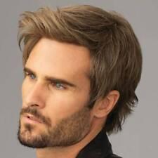 Mens Brown Short Straight Wigs Men Natural Full Hair Cosplay Party Wig CA