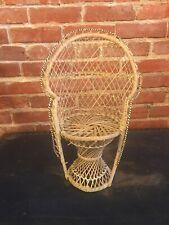 """Vintage Mini Fan Wicker Chair Fits 18"""" American girl Doll, Bears Doll Furniture"""