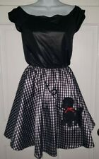 Black White gingham Check Poly 50s Poodle Skirt Dress costume. Girls one size
