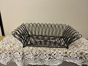 "Large Black Wire Fruit Bowl  12"" X9.5"" 5"" Tall"