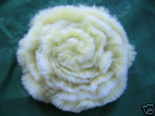 Genuine Rabbit Fur Brooch, Pin Green with White Rim