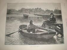 Il traghetto BARCA Hamilton macallum 1873 old print Canottaggio