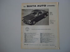 advertising Pubblicità 1963 AUTO SIATA COUPE' 1500 TS DERIVATO DA FIAT 1500