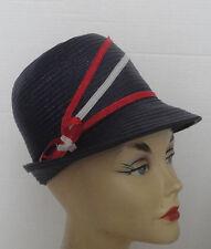 Vintage Navy Blue Cellofane Straw High Crown Red White Stripe Hat