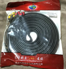15ft 3-RCA Red White Yellow Composite Video Stereo Audio AV Cable Cord Wire Gold