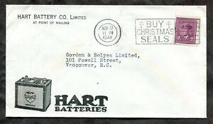 p1370 - Hart Batteries ADVERTISING Cover 1944 Blackout Slogan Christmas Seals ✉