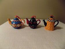 Set Of 3 Mary Engelbreit Tea Pots - Mini Ornaments Cherries Sunflowers Dots