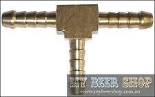6mm BRASS THREE WAY CO2 GAS OR BEER LINE SPLITTER HOME BREW T PIECE
