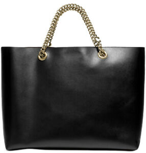 Coach Refined Calf Leather Signature Chain Convertible in Black/Gold