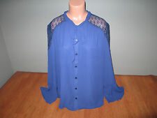 New Womens Plus Size 3X Halo Navy Blue Career Blouse Shirt Top Tie Loose Knit @