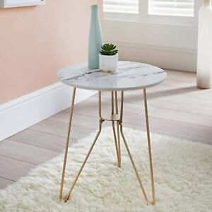 New Marble Effect Top Contemporary Design Patina Side Table Ideal Home Decor N21