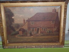 "ANTIQUE J.M ""FARM HOUSE"" 1928 FRAMED ORIGINAL SIGNED OIL PAINTING ON CANVAS"