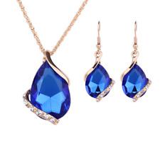Fashion Wedding Sapphire Crystal Rhinestone Women Necklace Earrings Set Jewelry