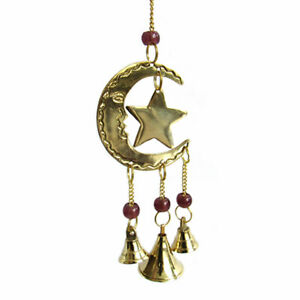 "NEW Sun and Moon Mini Chime Brass Beaded Altar Decor w/ Bells 9.5"" Length"