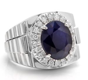 8.20Ct Natural Diamond & Sapphire 14K Solid White Gold Men's Ring