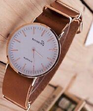 New Ultra-thin KhakI Leather Belt Geneva Classic Simple   Men Wrist Watches