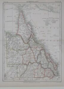 Original 1886 Map QUEENSLAND Great Barrier Reef Australia Brisbane Cairns Raglan