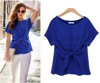 New Women Chiffon Blouse Short Sleeve Bow-knot T-shirt Summer Casual Blouse Tops