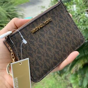 Michael Kors Women Key Ring Chain Top Zip Coin Pouch ID Card Holder Brown Wallet