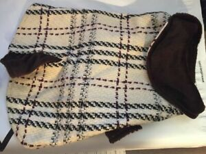 Snooty Dog Coat Madison Avenue Plaid Kickpleat W/Fleece collar Lining 10-14 inch