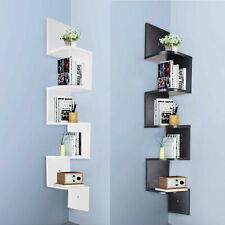3/5 Tier Floating Wall Shelves Corner Shelf Storage Display Bookcase Bedroom UK