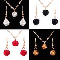 Women's Resin & Rhinestone Ball Pendant Necklace And Earrings Jewellery Set Gift