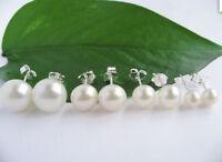 Wholesale Natural White Akoya Freshwater Pearl Silver Stud Earrings