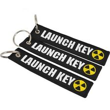 1pc Launch Key Black Embroidered Keychain Motorcycle Scooter Cars Keyring Tag