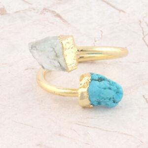 Tiny Genuine Raw Aquamarine Turquoise Gold Plated Double Stone Adjustable Ring