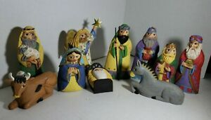 10 Piece Unique Nativity Set Figures Carved Rounded Resin Folk Art Colorful Gold