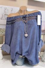Italia CARMEN CAMICETTA TUNICA UNCINETTO BLU Hippie Camicia Oversize BATIK Boho