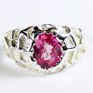 CREATED PINK SAPPHIRE Sterling Silver Men's Ring - Handmade • SR168