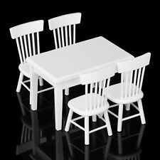 1:12 Dollhouse Miniature Furniture Wooden Dining Room Table & 4 Chairs Set White