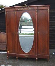 Vintage French Empire Style Mahogany Veneer 3 Door Wardrobe  -  (CON180)