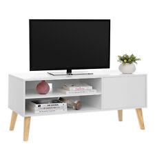 VASAGLE Scandinavian TV Stand Retro TV Console TV Cabinet Lowboard White LTV09WT