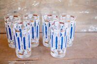 Set Of VTG MCM Blue White and Gold Mid Century Bar Glasses