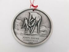 John Deere Christmas 1992 Reindeer Ltd Ed Pewter Christmas Medallion Ornament