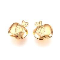 10pcs 304 Stainless Steel  Apple  Charms Golden Metal Dangle Pendants 13x11mm
