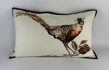 RARE Pottery Barn Pheasant Embroidered Lumbar Pillow & Cover FALL AUTUMN
