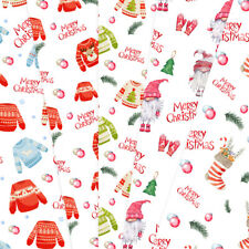 Christmas Gift wrapping paper & Tags string 50cmx70cm Gnomes Jumpers 10 Sheets
